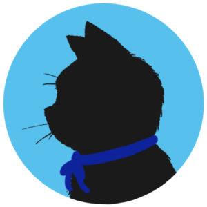 sns用プロフィール画像黒猫横顔シルエット単色ブルー