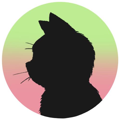 sns用プロフィール画像黒猫横顔シルエットグラデーショングリーンピンク首輪なし