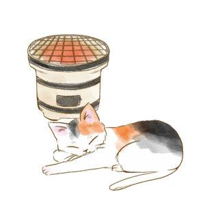 しちりんで暖をとる三毛猫