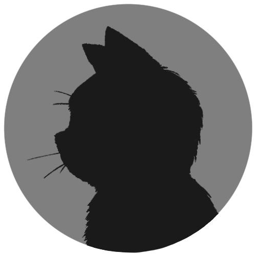sns用プロフィール画像黒猫横顔シルエット単色グレー首輪なし