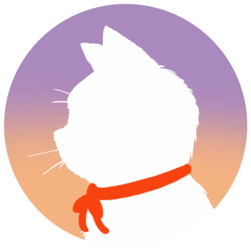 sns用プロフィール画像白猫横顔シルエットグラデーションラベンダーオレンジ