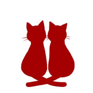 シルエット2匹の猫2しっぽクロスレッド