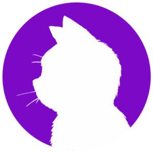 sns用プロフィール画像白猫横顔シルエット単色パープル首輪なし
