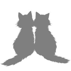 シルエット2匹の猫5長毛グレー