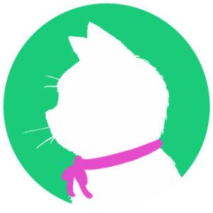 sns用プロフィール画像白猫横顔シルエット単色グリーン