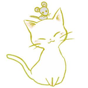 猫イラスト白猫とねずみ