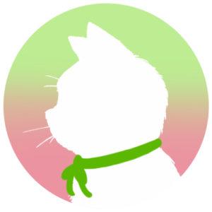 sns用プロフィール画像白猫横顔シルエットグラデーショングリーンピンク