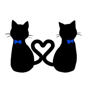 シルエット2匹の猫3しっぽハートAリボン青