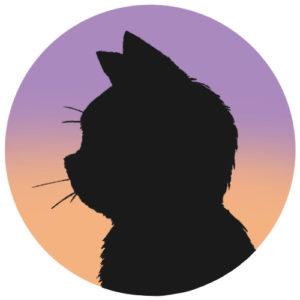 sns用プロフィール画像黒猫横顔シルエットグラデーションラベンダーオレンジ首輪なし