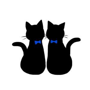 シルエット2匹の猫1リボン青