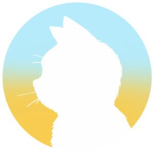 sns用プロフィール画像白猫横顔シルエットグラデーションライトブルーイエロー首輪なし