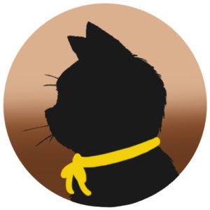 sns用プロフィール画像黒猫横顔シルエットグラデーションベージュブラウン