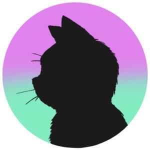sns用プロフィール画像黒猫横顔シルエットグラデーションライラックエメラルド首輪なし