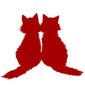シルエット2匹の猫5長毛レッド