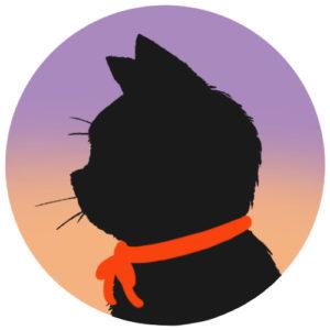 sns用プロフィール画像黒猫横顔シルエットグラデーションラベンダーオレンジ