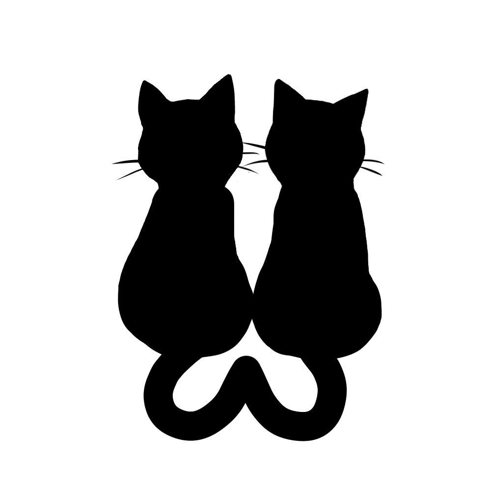シルエット2匹の猫4しっぽハートBブラック