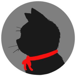 sns用プロフィール画像黒猫横顔シルエット単色グレー