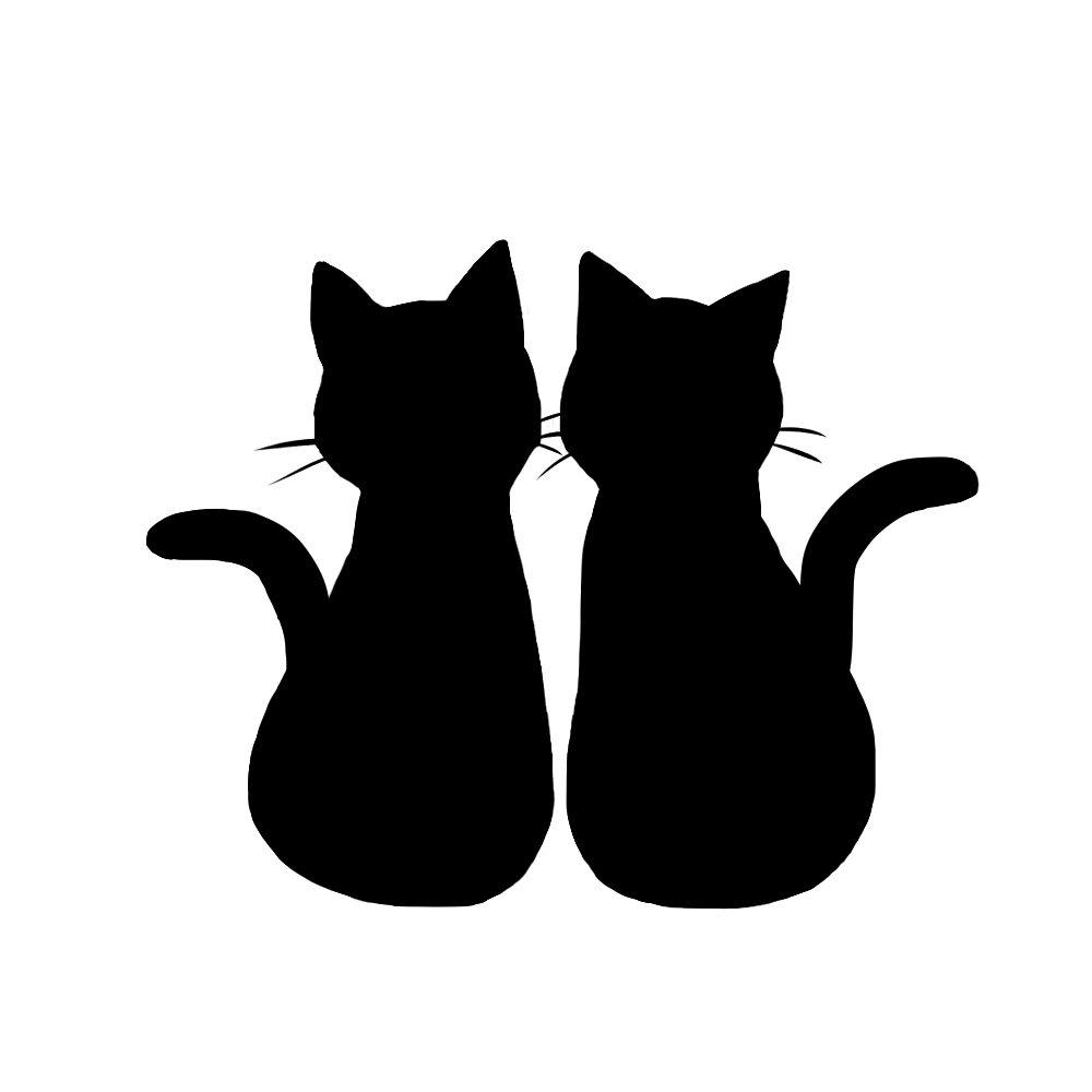シルエット2匹の猫1ブラック