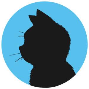 sns用プロフィール画像黒猫横顔シルエット単色ブルー首輪なし