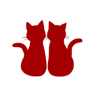 シルエット2匹の猫1レッド