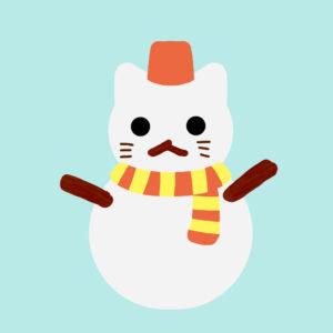 猫の雪だるまオレンジ