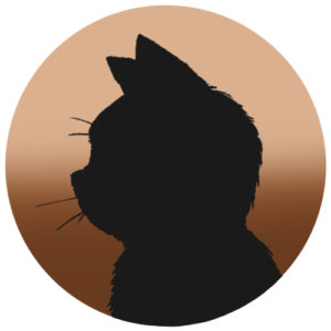 sns用プロフィール画像黒猫横顔シルエットグラデーションベージュブラウン首輪なし