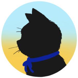 sns用プロフィール画像黒猫横顔シルエットグラデーションライトブルーイエロー