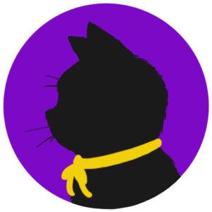 sns用プロフィール画像黒猫横顔シルエット単色パープル