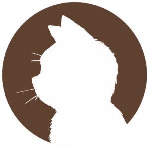 sns用プロフィール画像白猫横顔シルエット単色ブラウン首輪なし