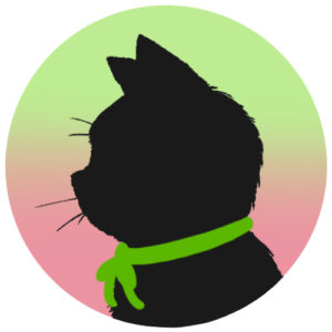 sns用プロフィール画像黒猫横顔シルエットグラデーショングリーンピンク