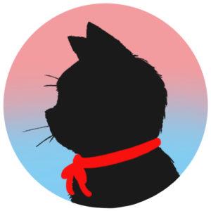 sns用プロフィール画像黒猫横顔シルエットグラデーションピンクブルー