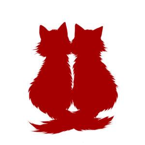 シルエット2匹の猫6長毛しっぽクロスレッド