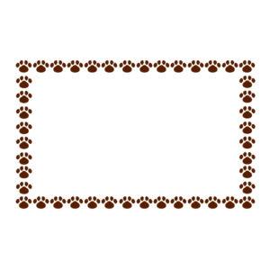 小さな肉球を並べた四角いフレームブラウン