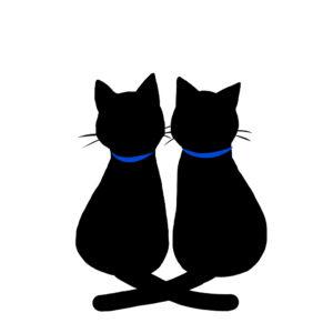 シルエット2匹の猫2しっぽクロス首輪青