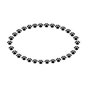 小さな肉球を並べた楕円フレームブラック