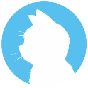 sns用プロフィール画像白猫横顔シルエット単色ブルー首輪なし