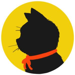sns用プロフィール画像黒猫横顔シルエット単色イエロー
