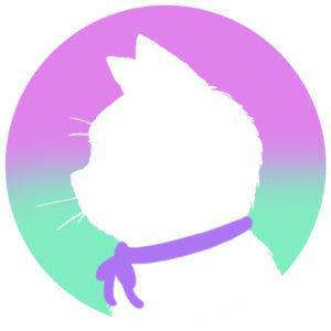 sns用プロフィール画像白猫横顔シルエットグラデーションライラックエメラルド