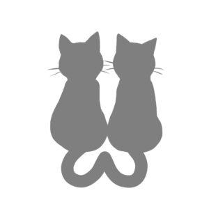 シルエット2匹の猫4しっぽハートBグレー