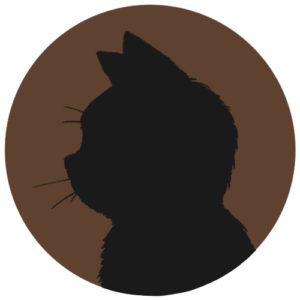 sns用プロフィール画像黒猫横顔シルエット単色ブラウン首輪なし