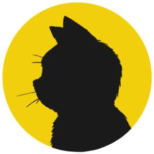 sns用プロフィール画像黒猫横顔シルエット単色イエロー首輪なし