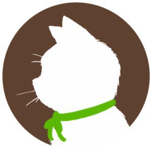 sns用プロフィール画像白猫横顔シルエット単色ブラウン