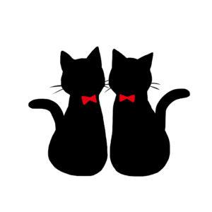 シルエット2匹の猫1リボン赤