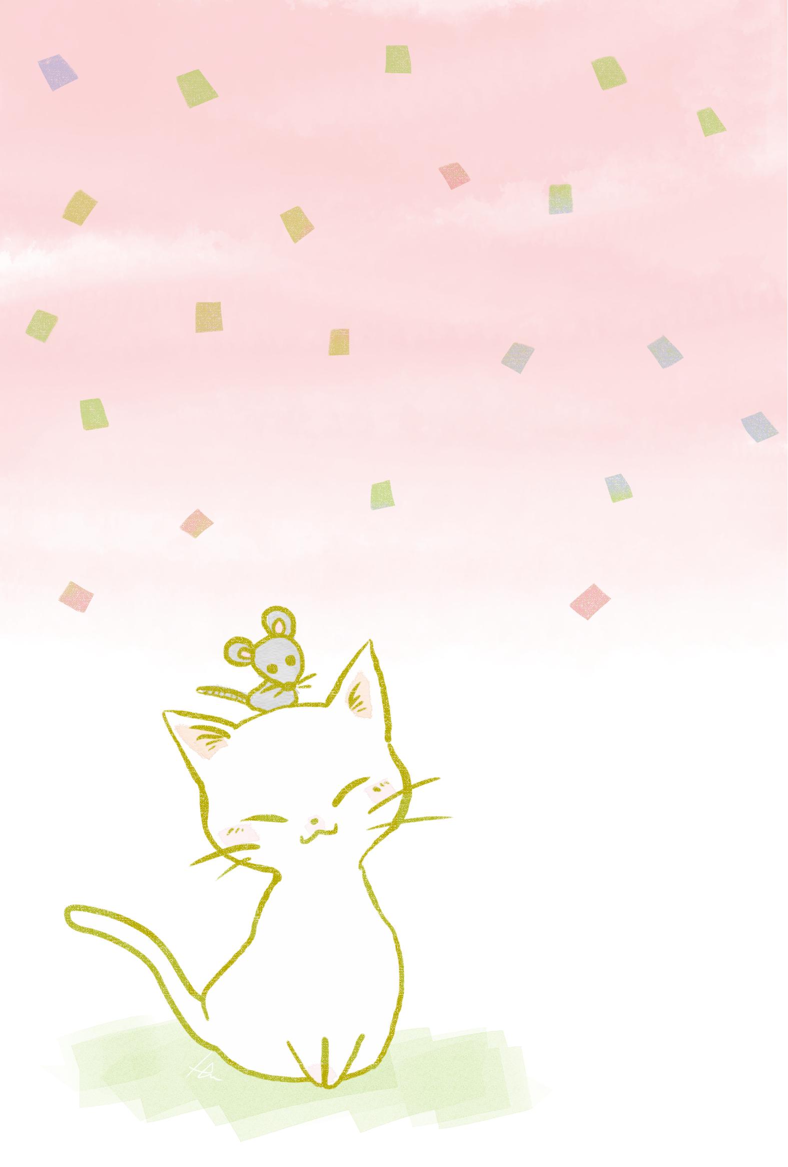 猫イラスト子年年賀状白猫とねずみ