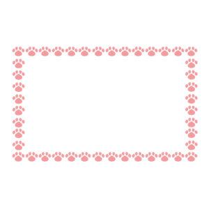 小さな肉球を並べた四角いフレームピンク