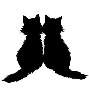 シルエット2匹の猫5長毛ブラック