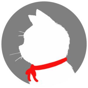 sns用プロフィール画像白猫横顔シルエット単色グレー