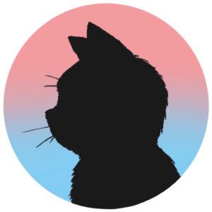 sns用プロフィール画像黒猫横顔シルエットグラデーションピンクブルー首輪なし