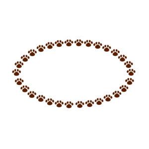 小さな肉球を並べた楕円フレームブラウン