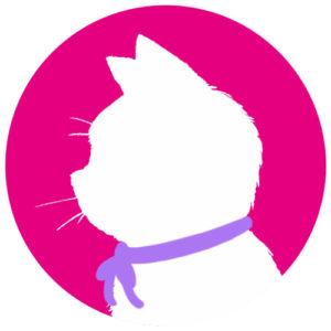 sns用プロフィール画像白猫横顔シルエット単色ピンク